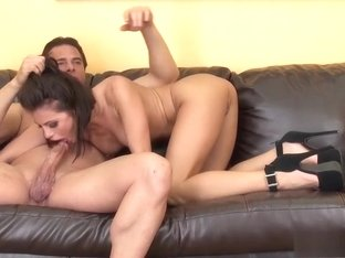 Brunette babe Adriana blows, gets drilled and a mouthful of cum
