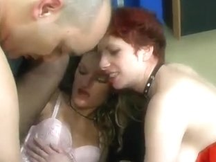 Sexy French secretaries enjoy some hot sex with a boss