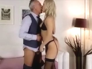 Blonde in stockings sucking older British cock