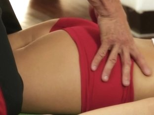 Massage babe rubbed by masseur before fucking
