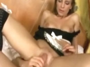 Maid in uniform and haunch high nylons fucking