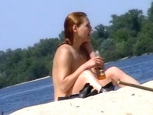 Arousing beach with naked babes recorded on spy cam