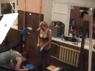 Sexy long haired blonde caught on the hidden camera half naked