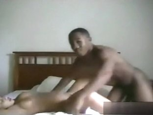 Big boobed ponytailed ebony girl has doggystyle, missionary and cowgirl sex with her bf on the bed.