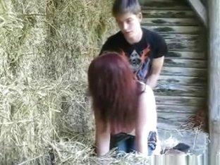 Redneck fucks his redhead gf on the farm