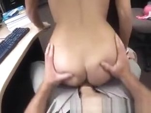College Student Getting Banged On A Desk In Office