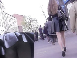 Upskirt cam caught the view under sexy leather skirt