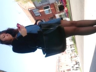 Candid pretty in black pantyhose