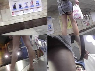 G-string upskirt video of a bubble ass blonde in metro