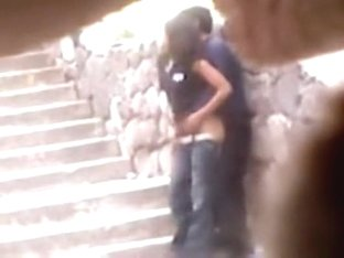 Teen couple had sex on the stairs