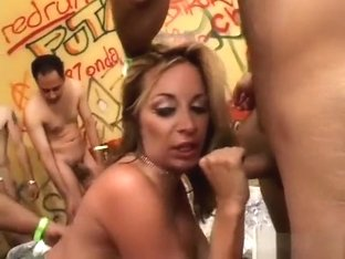 Desperate blonde has a fuck fest with a pack of lusty Mexican dudes
