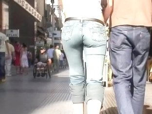 Blonde babe in street candid video