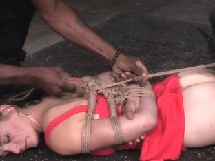 Hogtied sub dildofucked after breathplay