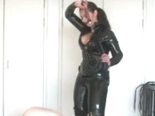 Curvy Latin domina in leather and her sissy serf