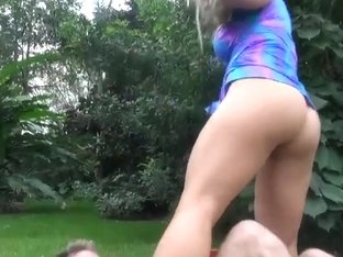 Hot blonde milf enjoys in giving a ride in park