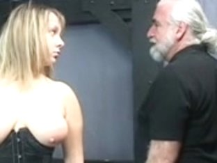 Old fella master pulls corpulent sub's hair and smacks her large bumpers