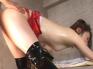 Hardcore bondage with mistress Koran plunging dudes ass