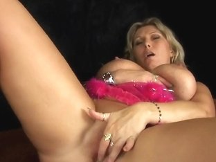 Obese aged mommy with large boobs masturbates