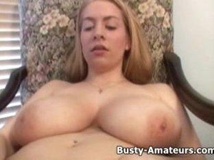Busty amateur Calis playing huge dildo