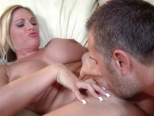 Busty blonde mother wants to test her daughter's fucker in the action