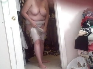 she caught me when she was putting on the body stocking.