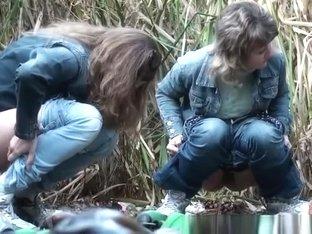 Three women secretly filmed pissing outdoors