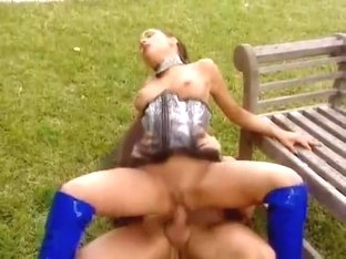 garden fuck in blue boots