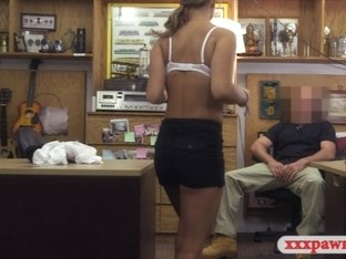 Waitress pawns her pussy and fucked hard by pawn keeper