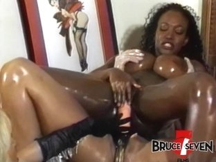 Busty enema dykes toying asses and pussies in threesome