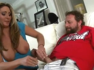 Giant boobed brunette Kitana Baker is pleasing her friend with naughty handjob and then getting do.