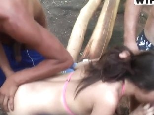 Marta is sawed by two black studs and a white hunk