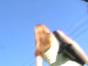 Shameless chick in white panties in the upskirt video