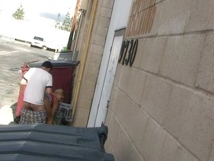 Slim blonde gives marvelous blowjob near the trash can
