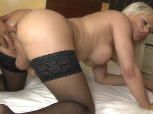 Sexy blonde shemale fucked hard