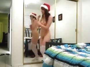 Skanky dark brown hair gf gives me disrobe dance in Xmas hat and negligee