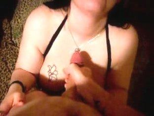 Pale tattooed girl sucking