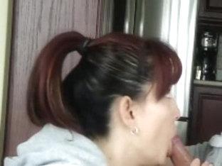 nice-looking dark brown girlfriend swallows his load