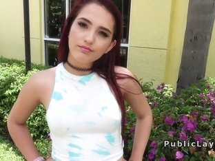 Redhead teen interviewed and fucked in public