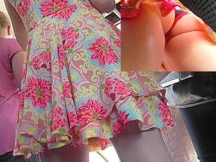 Wonderful upskirting scene shows pretty classic pantie