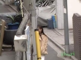Vixenish skinny Japanese chick flashes her hairy pussy during sharking meeting