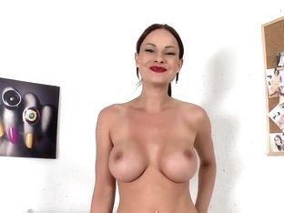 Amazingly shaped busty Red-Head babe stripping