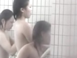 Asian cuties entertain on the shower spy camera