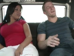 Latina fucks on the BangBus