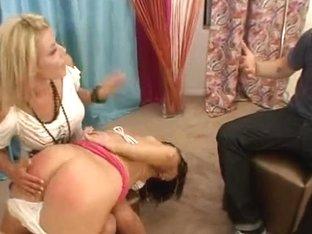 Nice brunette teen gets her teen butt spanked