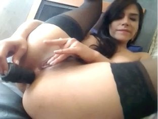 Busty non-professional dark brown hair playgirl fucks her twat and arse with her toys doing a grea.