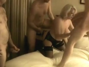 Three Guys Served by a Plump Blonde