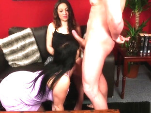 my girlfriend's mom teachs her how to suck my cock