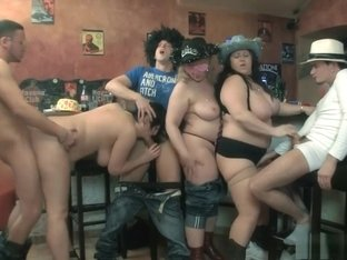 Wild BBW party with these horny bitches getting a gang of cocks to fuck