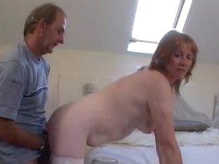 Aged UK amateurs fuck on camera