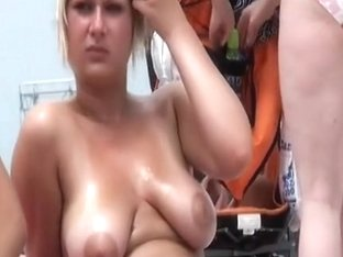 Worthy oiled love muffins on the beach